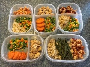 Meal Prep Chicken, Veggies, Rice, Sweet Potatoes