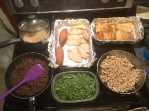 Meal Prep - Ground bison and turkey, brown rice, salmon, tilapia, sweet potatoes, green beans